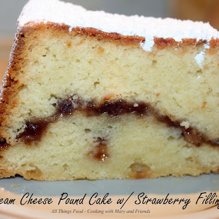 Cream Cheese Pound Cake with Strawberry Filling.