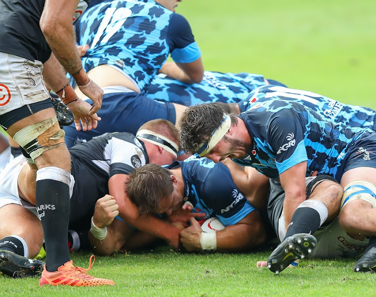 Try time from Arno Botha of the Vodacom Bulls during the Carling Currie Cup final match between Vodacom Bulls and Cell C Sharks at Loftus Versfeld Stadium on January 30, 2021 in Pretoria, South Africa.
