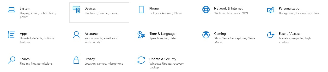 Windows Settings window with the Devices option highlighted with a gray rectangle around it