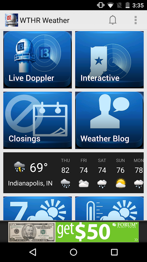 WTHR SkyTrak Weather - screenshot