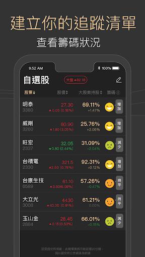 籌碼大股東 - 跟著大股東買股票 (查詢股權資料 籌碼流向趨勢圖 集保戶股權分散表 大股東籌碼查詢) screenshot 4