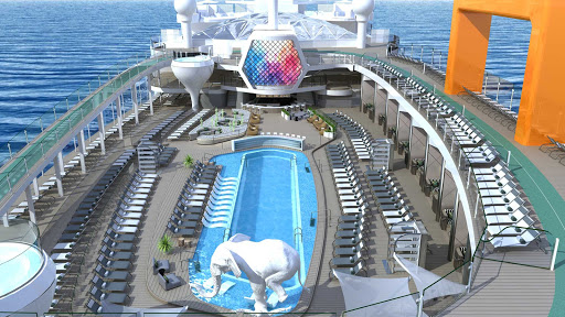 The Resort Deck of Celebrity Beyond. The ship launches in April 2022 and will be larger than the Edge and Apex as the third Edge-class vessel, with a number of new venues, spaces and design updates.