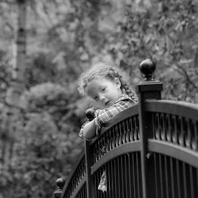 Thoughts on a bridge by Scott Morgan - Black & White Street & Candid ( girl child, girl, black and white, bridge,  )