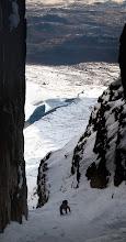 Photo: Pete nears the top of Chockstone Gully, Toll an Lochain, An Teallach