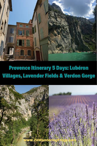 Provence Itinerary 5 Days: Luberon Villages, Lavender Fields, and Verdon Gorge // Collage Pinterest