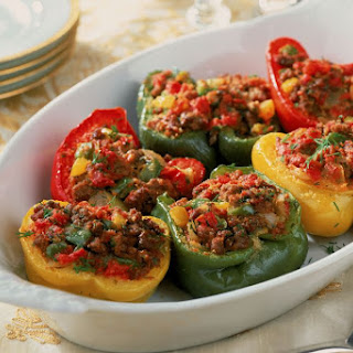 Baked Stuffed Peppers With Ground Beef and Corn.