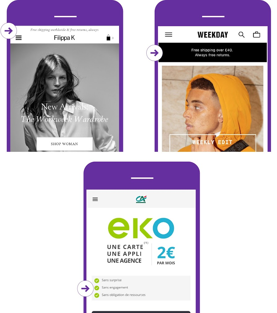 A/B test value proposition above the fold
