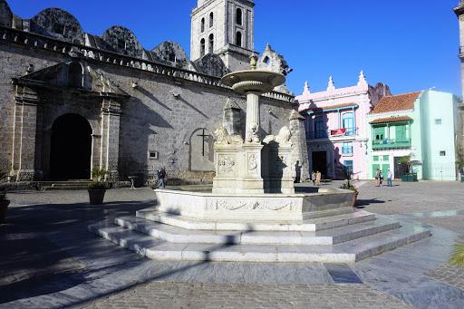 A fountain in Plaza de San Francisco in Old Havana.