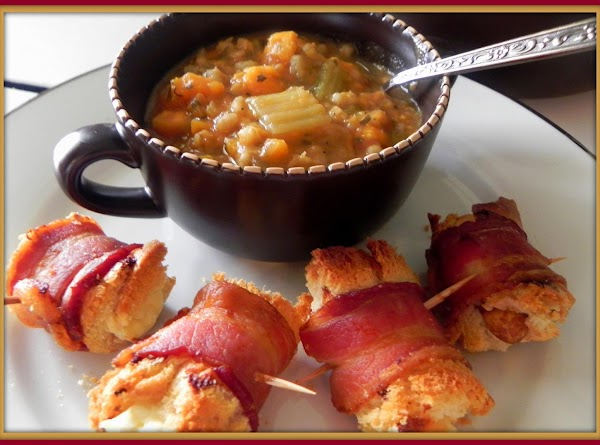 Serve up a bowl and sit down and enjoy.  I served bacon wraps with...