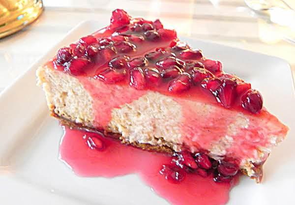 Eggnog Cheesecake With Pomegranate Glaze