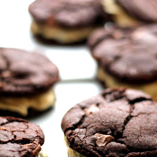 Chocolate Cookie Sandwiches With Cream Cheese Cookie Dough Filling.