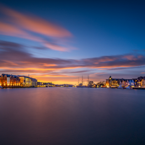 Port of Bergen, Norway by Paulius Bruzdeilynas - Landscapes Travel ( bergen, port, water, clouds, sony alpha, bryggen, spring, sony a7ii, norway, fjord, sony, lights, evening lights, sky, norwegian, sunset, port of bergen, weather, norge, evening,  )