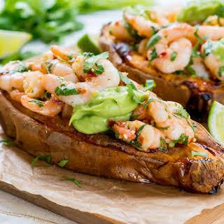 Spicy Shrimp Stuffed Sweet Potatoes + Avocado Cream.
