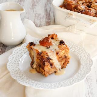 Challah Bread Pudding with Kahlua Cream Sauce.