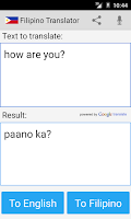 Screenshot of Filipino English Translator