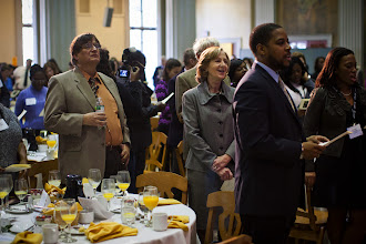 """Photo: 9 Feb. 2012, Cambridge, MA - President Hockfield and Professor Tapia sing with the crowd """"Lift Every Voice"""" as MIT presents the 38th Annual Martin Luther King, Jr. Breakfast Celebration, featuring a keynote address from Rice University's Richard Tapia...Photo by Dominick Reuter"""