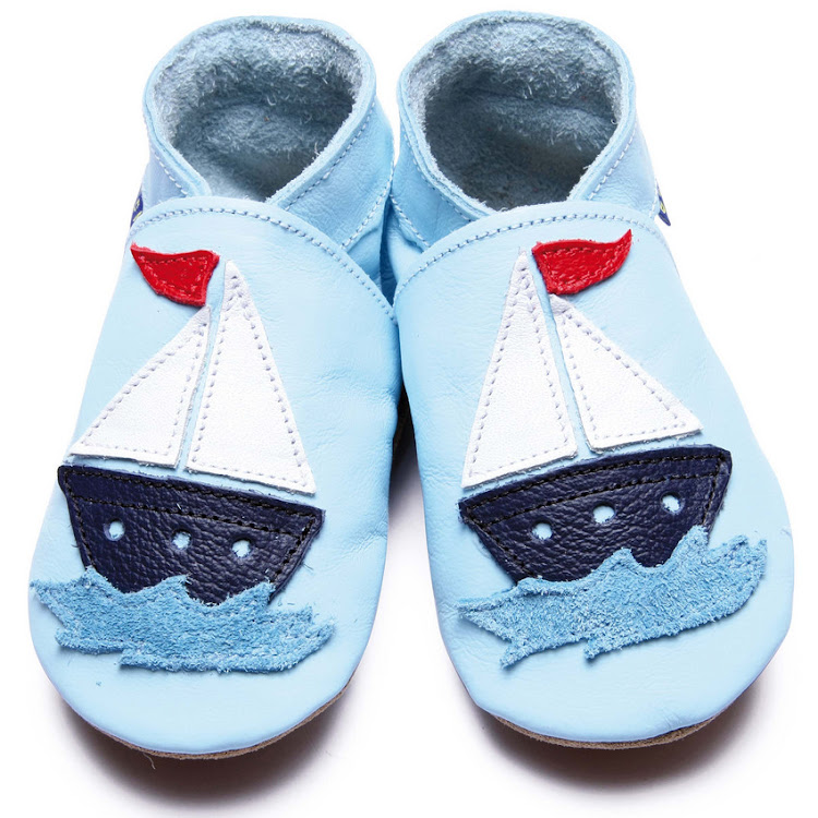 Inch Blue Soft Sole Leather Shoes - Sail Boat Baby Blue (6-12 months)