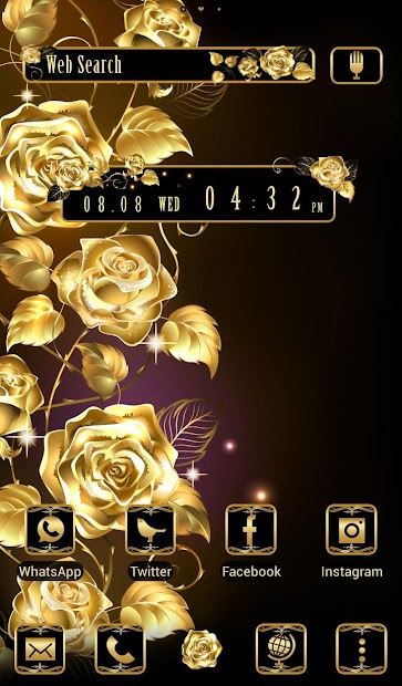 Beautiful Wallpaper Golden Roses Theme Android App Screenshot