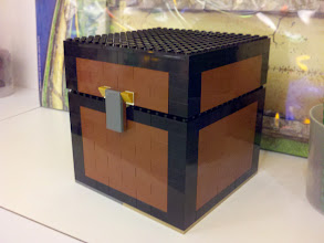 Photo: A customer came into work wanting to recreate a Minecraft treasure chest, and I spent maybe an hour helping her.  I'm really impressed with how well it turned out, since we were working with our limited selection of pieces (and what I could scrounge from the back).