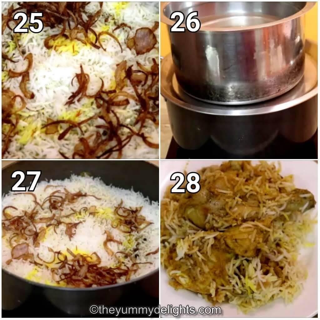 image collage of dum cooing the Kolkata biryani