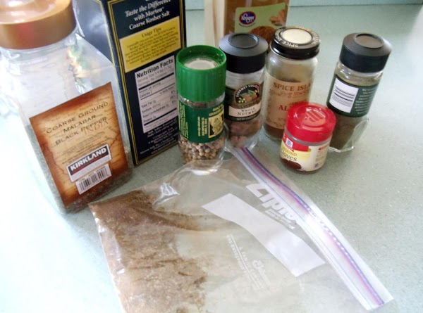 Mix together all 9 Beau Monde Seasoning spices and place in a small jar...