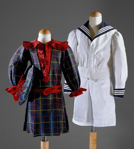 Girl's costume (scottish style) and Boy's costume (sailor style)