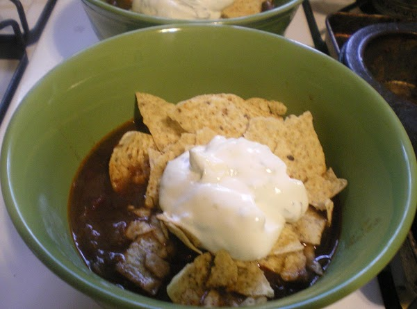 To serve ladle into bowls, add crumbled - warm tortilla chips, and cilantro lime...