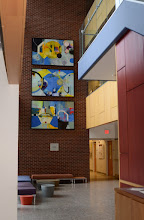 Photo: Bold paintings hang in the lobby of Penn State's Chemistry Building at University Park, PA.