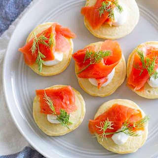 Mini Pancake Blini with Salmon and Dill.