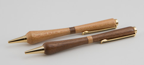Photo: Bob Browning - his and her pen set [sycamore, walnut]