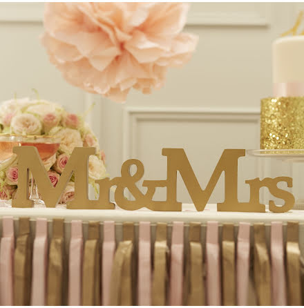 Mr & Mrs - träbokstäver Pastel Perfection