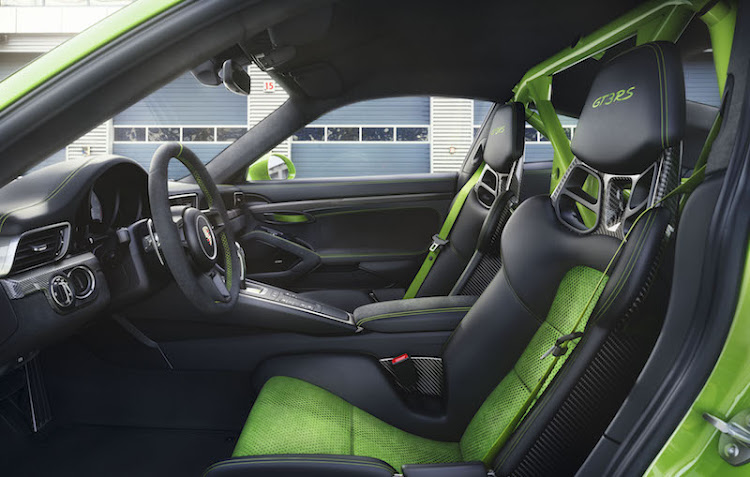 The interior has a racecar-like focus
