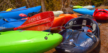 Photo: Kayaks lined up along the Lester River just before race time on Saturday, April 26. Just under 20 racers competed in the second running of the Lester River Race.