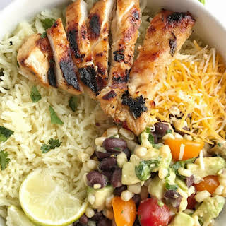 Honey & Cilantro Lime Grilled Chicken Rice Bowls.