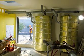 Photo: Réservoirs eau froide circuit de climatisation (Visite de chantier 2 Oct. 2014)