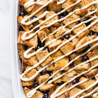 Healthy Overnight French Toast Casserole with Blueberries and Maple-Cream Cheese Glaze
