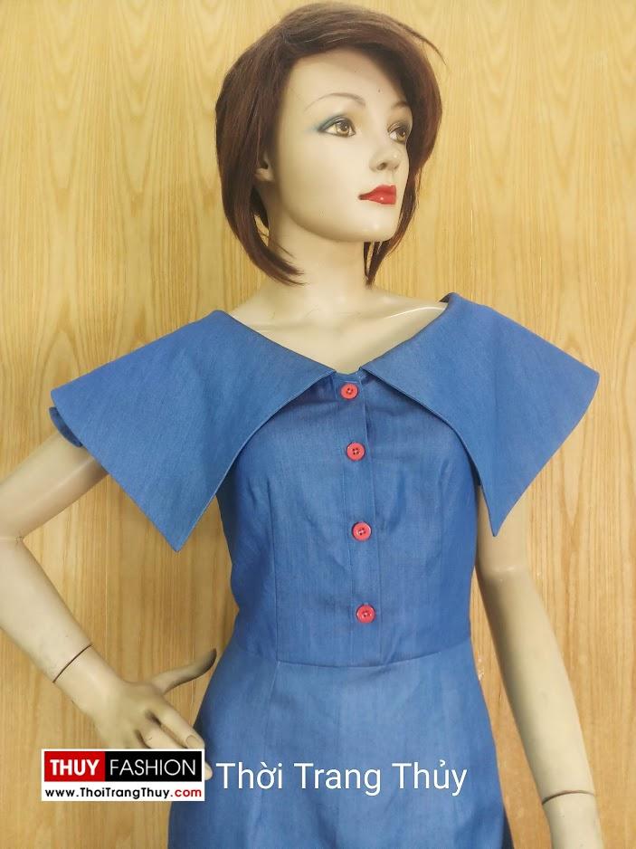 Váy bút chì cổ cách điệu xòe cánh V677 thời trang thủy đà nẵng