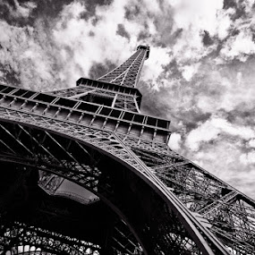 Eiffel Tower by Brandon Rechten - Buildings & Architecture Statues & Monuments ( paris, eiffel tower, tower, b&w, black and white, monument, france )
