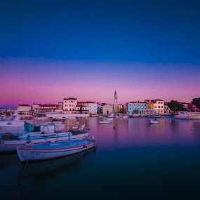 Smal Town at sunset by Andrej Folo - Landscapes Waterscapes ( istra, fažana, purple, waterscape, blue hour, croatia, long shutter speed, seascape, landscape, boat church, photography, clear sky, nd filters, fasana, blue sky, blue, sunset, nd, long exposure, town, nikon, small )