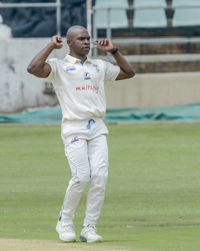 Junior Dala of the Titans during day 1 of the Sunfoil 4-Day Series match between Multiply Titans and WSB Cobras at Willowmoore Park on February 08, 2018 in Benoni.