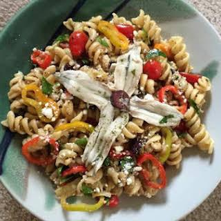 Mediterranean Pasta Salad with White Anchovies.