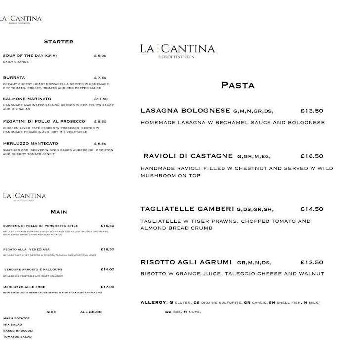 La Cantina Italian Restaurant Tenterden