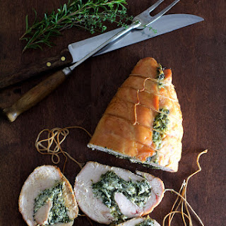 Spinach and Ricotta Stuffed Turkey Breast with Garlic Herb Sauce.