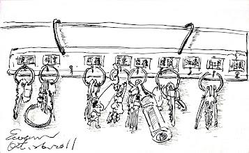 Photo: 鑰匙211.10.26鋼筆 監獄裡什麼最多?就是各種的鎖和鑰匙,每個工場都有一堆成串的鑰匙,為了方便分辨,每支都貼了標籤,甚至在鑰匙圈上串上蠟筆小新、可樂瓶等等小東西。