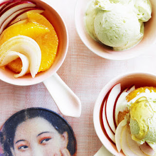 Fruit Salad with Ginger-Green Tea Ice Cream.