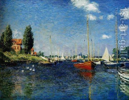 Argenteuil (Red Boats). The painting by Claude Oscar Monet