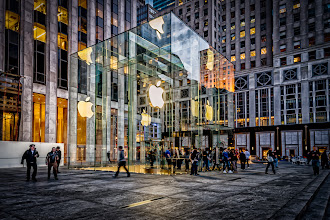 Photo: Just finished processing this image of the 5th Avenue Apple Store in New York City. I took this shot a few weeks ago and it's been sitting in my Lightroom catalog just waiting for me to do something with it. The shot was taken in early evening, just around sunset, and the raw image didn't really thrill me. However, I decided to do some playing around in Lightroom and Photoshop (primarily Color Efex Pro 4) and came up with something I liked.  Mostly I cranked the clarity in Lightroom 4 as a starting point. For some images it does a nice job creating a tonemapped looking image from a raw file (or at least it seems to do this with D800 raw files). I liked the extra detail it brought out in the stone work. I also did some additional work in Color Efex Pro 4 to bring out more detail. The other odd thing I did was cranked the luminance noise reduction in Lightroom to create an almost plastic look to the image. I think it came out all right.  If you'd like to comment/vote on it, I also posted it to my 500px.com account: http://500px.com/photo/8134045