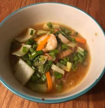 Spicy Korean Shrimp and Veggie Noodle Soup