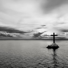 Sunken Cemetery by Christopher Imperial - Landscapes Beaches ( clouds, water, black and white, sea, seascape, landscape )