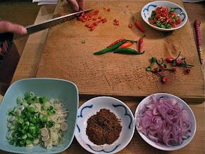 """Photo: preparing ingredients for catfish """"lahb"""""""